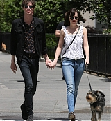 Dakota Johnson with Matt walking Zepplin in NYC - May 24