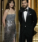 Dakota Johnson and Jamie Dornan Presents at 72nd Annual Golden Globe Awards - January 11
