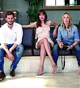 Dakota Johnson, Jamie Dornan and Sam Taylor Johnson pose for 'Fifty Shades of Grey' movie photoshoots