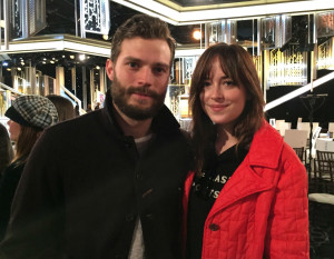 Dakota Johnson and Jamie Dornan at 2015 Golden Globe Rehearsal